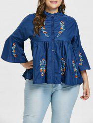 Plus Size Flare Sleeve Embroidered Smock Blouse -