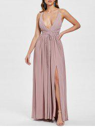 Plunging Neck Open Back Criss Cross Maxi Dress -