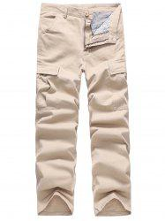 Solid Color Simple Pockets Cargo Pants -