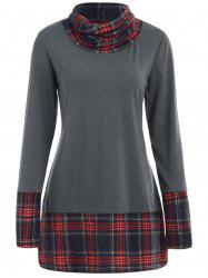 Cowl Neck Plaid Detail Plus Size Sweatshirt -