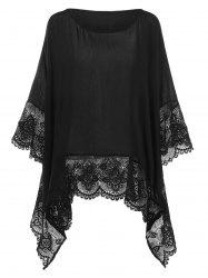 Plus Size Lace Insert Handkerchief Blouse -