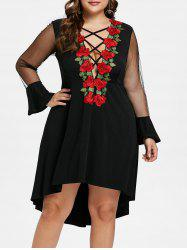 Plus Size Criss Cross Embroidery Dress -