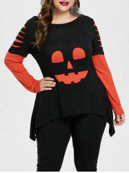 Plus Size Halloween Color Block Ripped T-shirt -