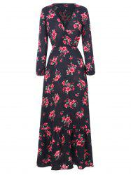 Floral Print Full Sleeve Maxi Surplice Dress -