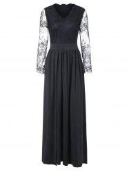 Lace Sleeve Maxi Cocktail Dress -