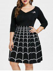 Plus Size Halloween Spider Web Swing Dress -