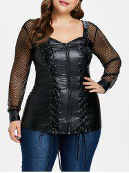 Plus Size Sweetheart Neck Lace Up T-shirt -
