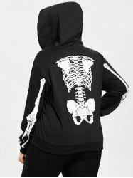 Skeleton Pattern Plus Size Zip Halloween Hoodie -