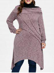 Plus Size Contrast Marled Tunic Knitwear -