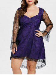 Plus Size Spider Web Mesh Overlay Dress -