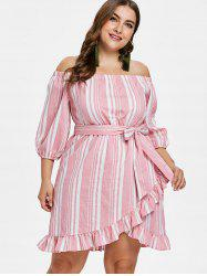 Plus Size Off Shoulder Striped Dress -
