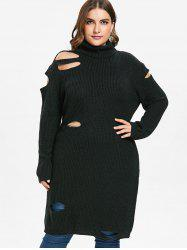 Plus Size Cut Out Long Sweater -