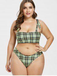 Plus Size Plaid Square Neck Buckle Bikini Set -