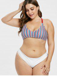 Plus Size Striped Contrast Bikini Set -