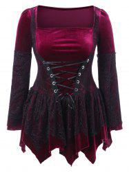 Halloween Plus Size Lace Up Velvet Peplum Top -