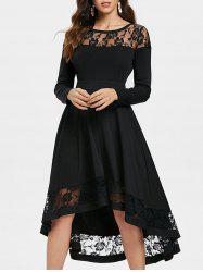 Lace Trim Full Sleeve Midi Dress -