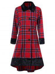 Plus Size Button Up Plaid High Low Coat -