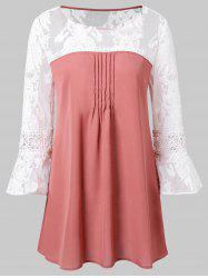 Bell Sleeve Two Tone Blouse -