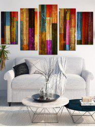 Unframed Colorful Wooden Split Canvas Paintings -
