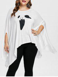 Plus Size Halloween Ghost Print Poncho T-shirt -