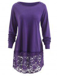 Hooded Lace Panel T-shirt -