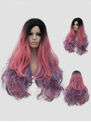 Long Side Parting Colorful Rainbow Wavy Party Synthetic Wig -