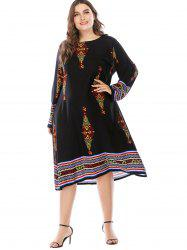 Plus Size Ethnic Print Casual Dress -