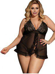 See Through Plus Size Scalloped Trim Lace Babydoll -