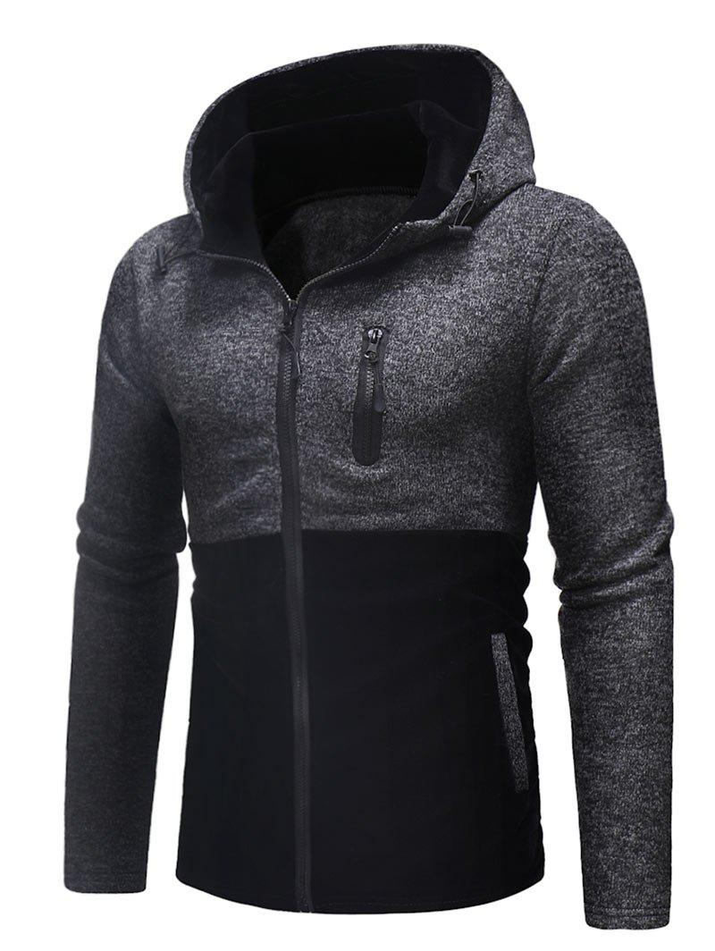 Trendy Zip Up Panel Space Dye Hoodie