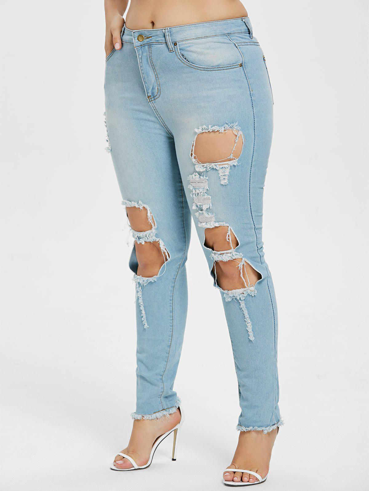 Outfit Plus Size Mid Waist Torn Jeans