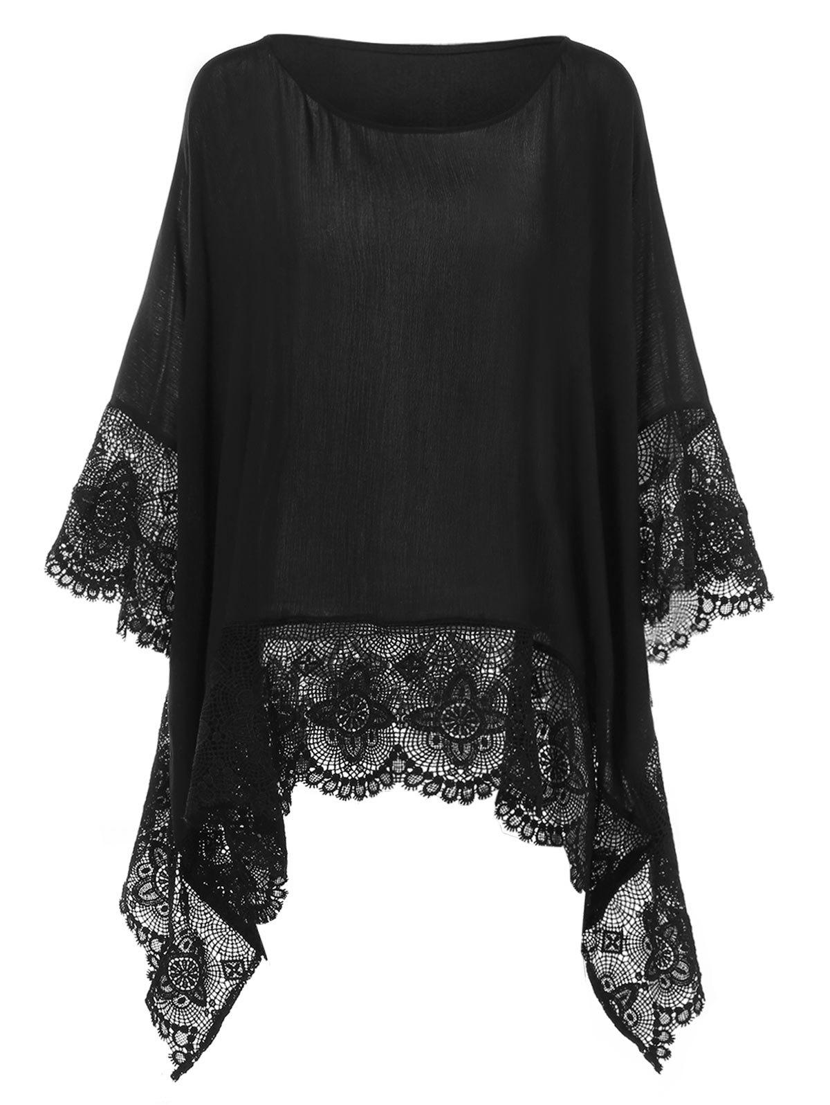 Trendy Plus Size Lace Insert Handkerchief Blouse