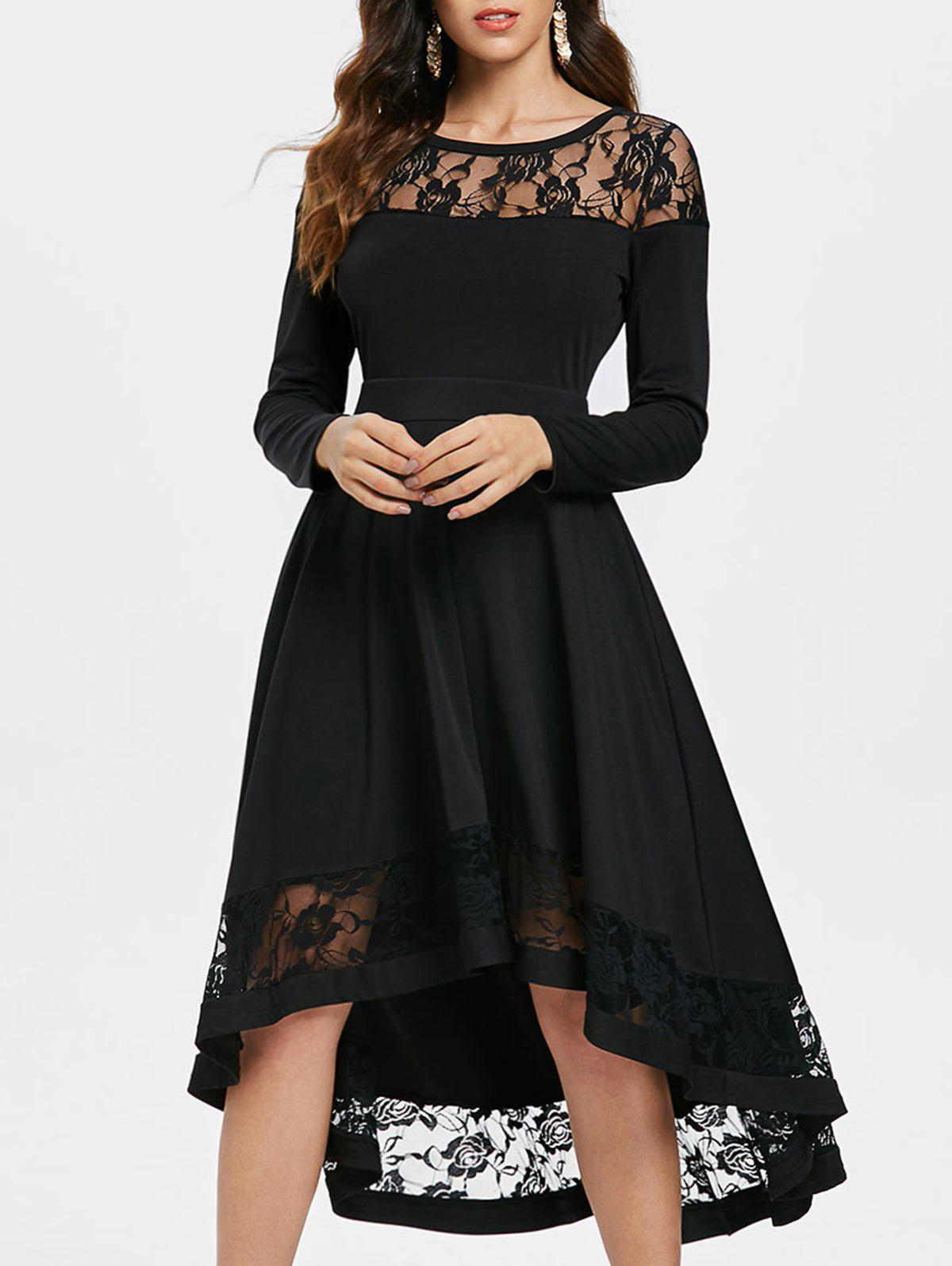 Latest Lace Trim Full Sleeve Midi Dress