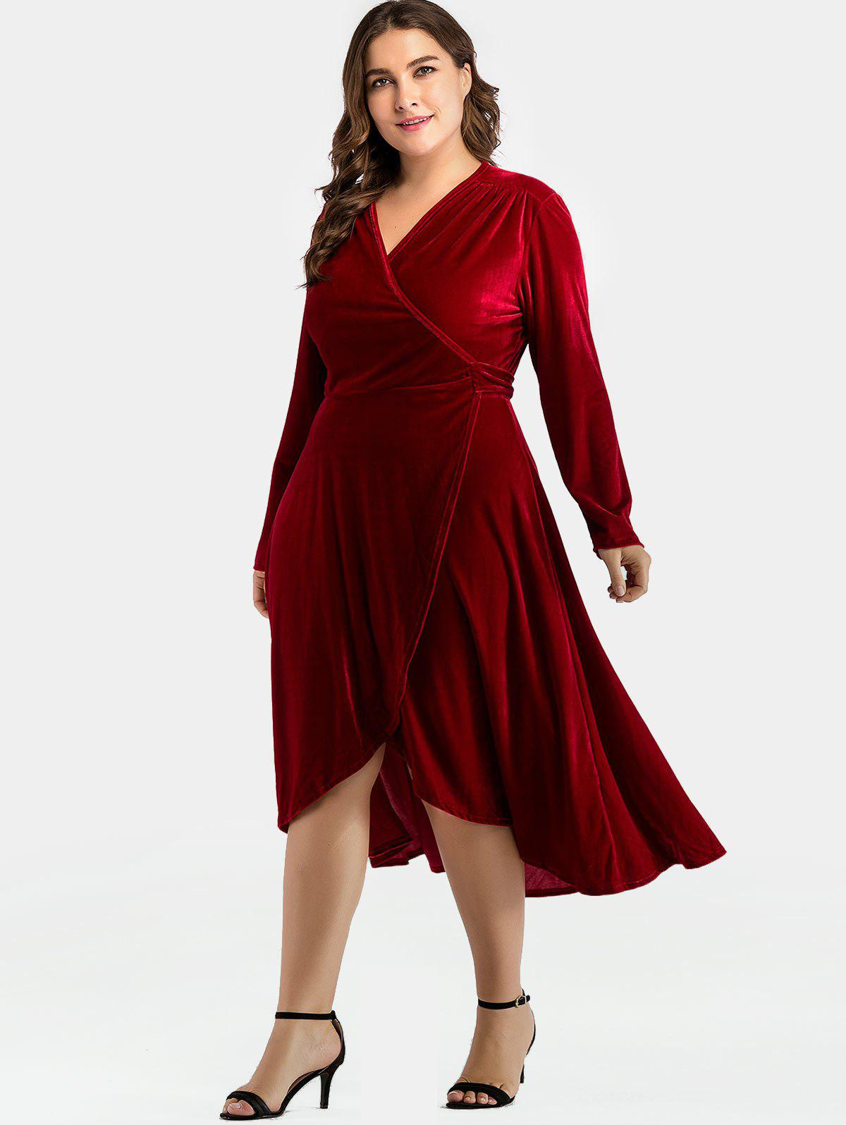 46 Off Surplice Neck Plus Size Velvet Wrap Dress Rosegal