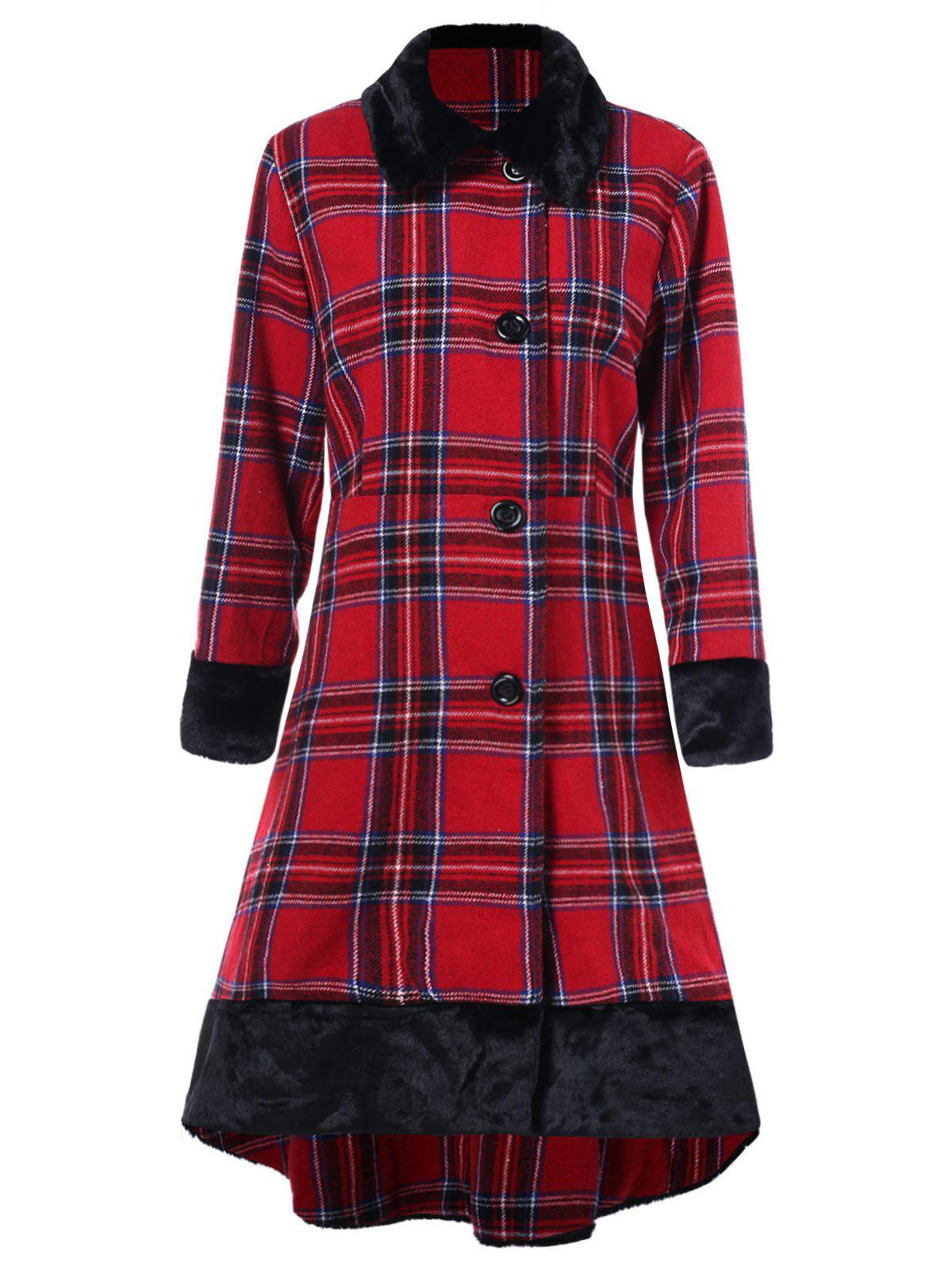 Online Plus Size Button Up Plaid High Low Coat