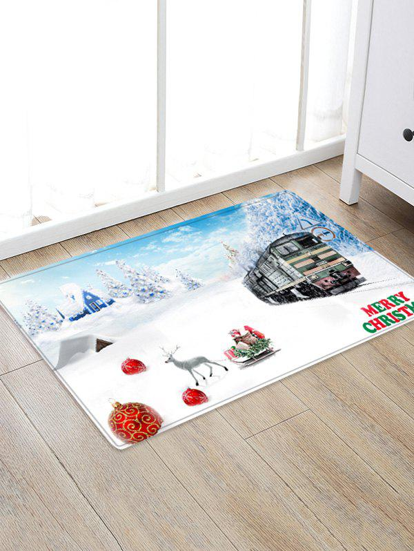 Unique Christmas Snowflake Train Pattern Water Absorption Area Rug