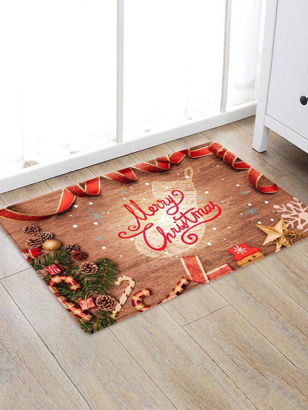 Discount Christmas Wood Grain Pattern Water Absorption Area Rug