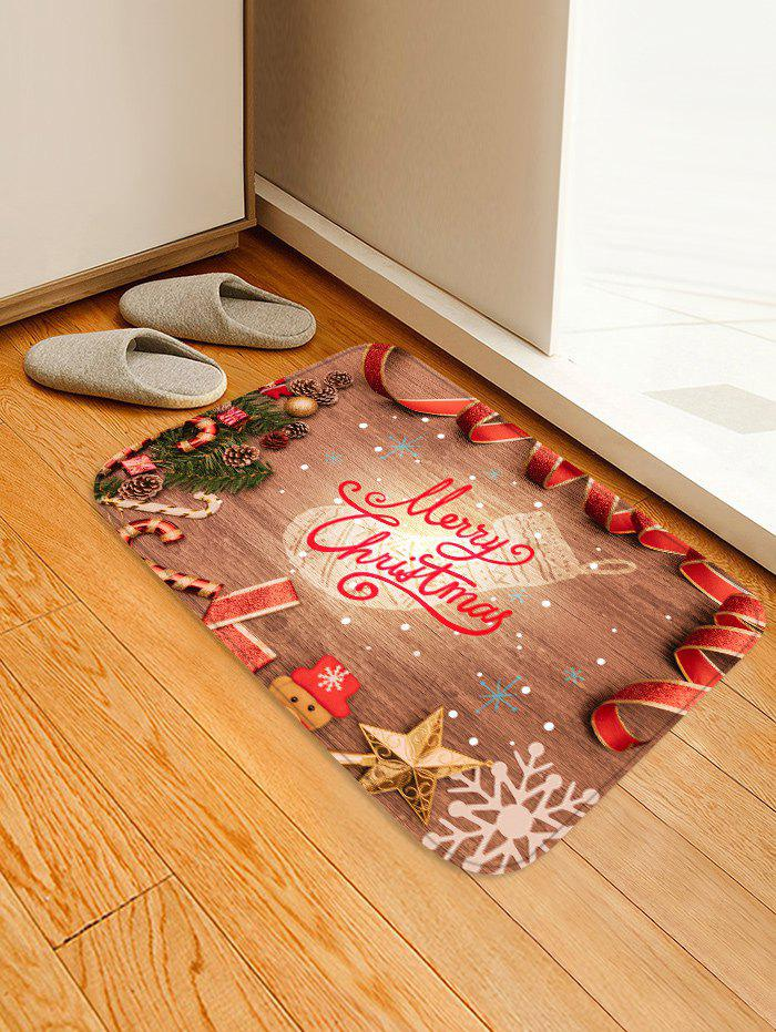 Outfit Christmas Wood Grain Pattern Water Absorption Area Rug