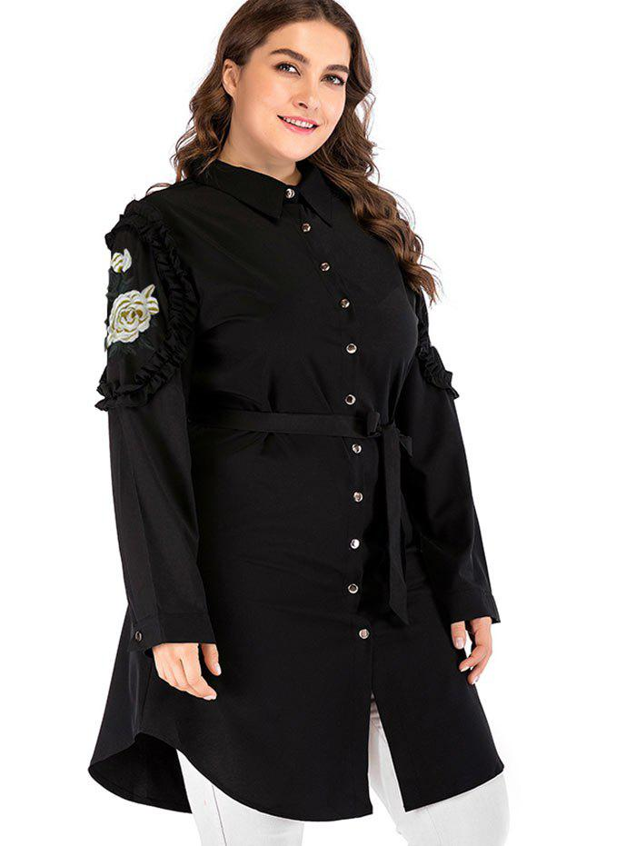 Cheap Plus Size Embroidered Blouse with Belt