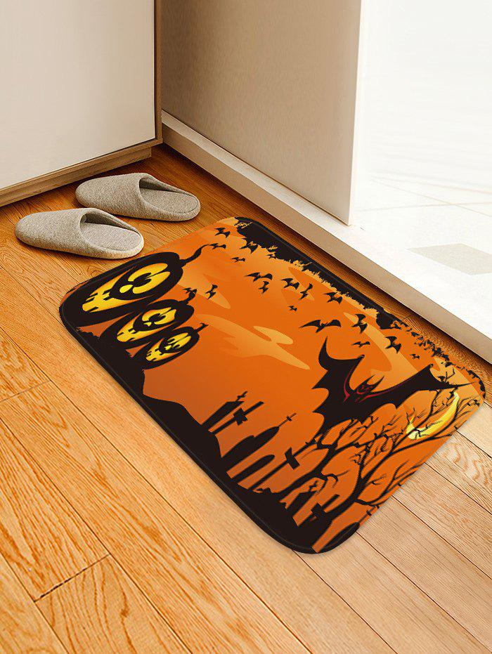 Store Halloween Pumpkin Bats Pattern Water Absorption Area Rug