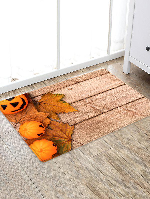 Trendy Halloween Pumpkin Wood Grain Pattern Water Absorption Area Rug