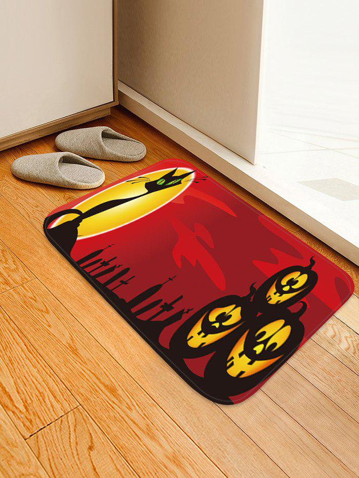 Discount Halloween Cat Pumpkins Pattern Water Absorption Area Rug