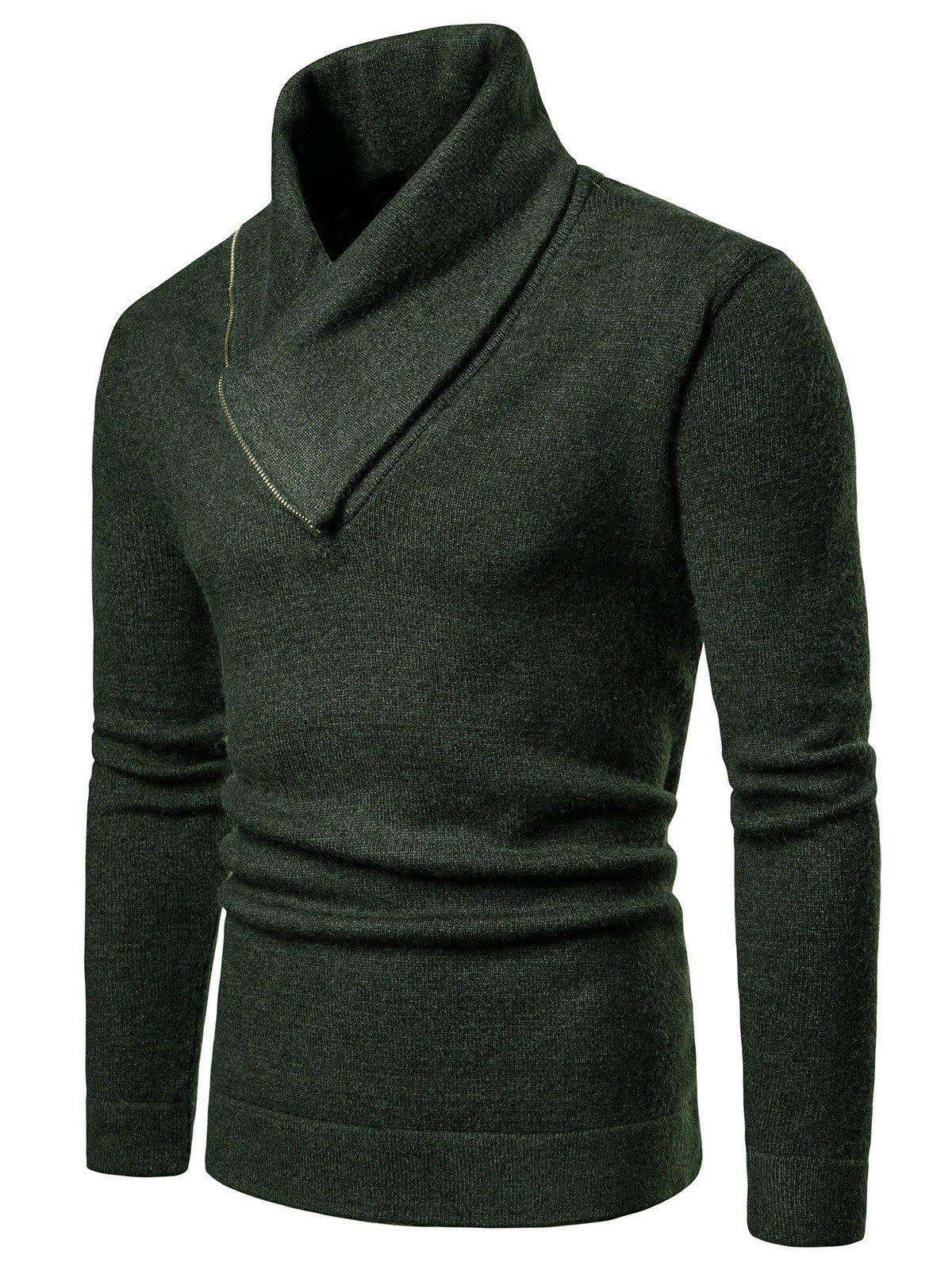Cheap Shawl Collar Solid Color Pullover Sweater