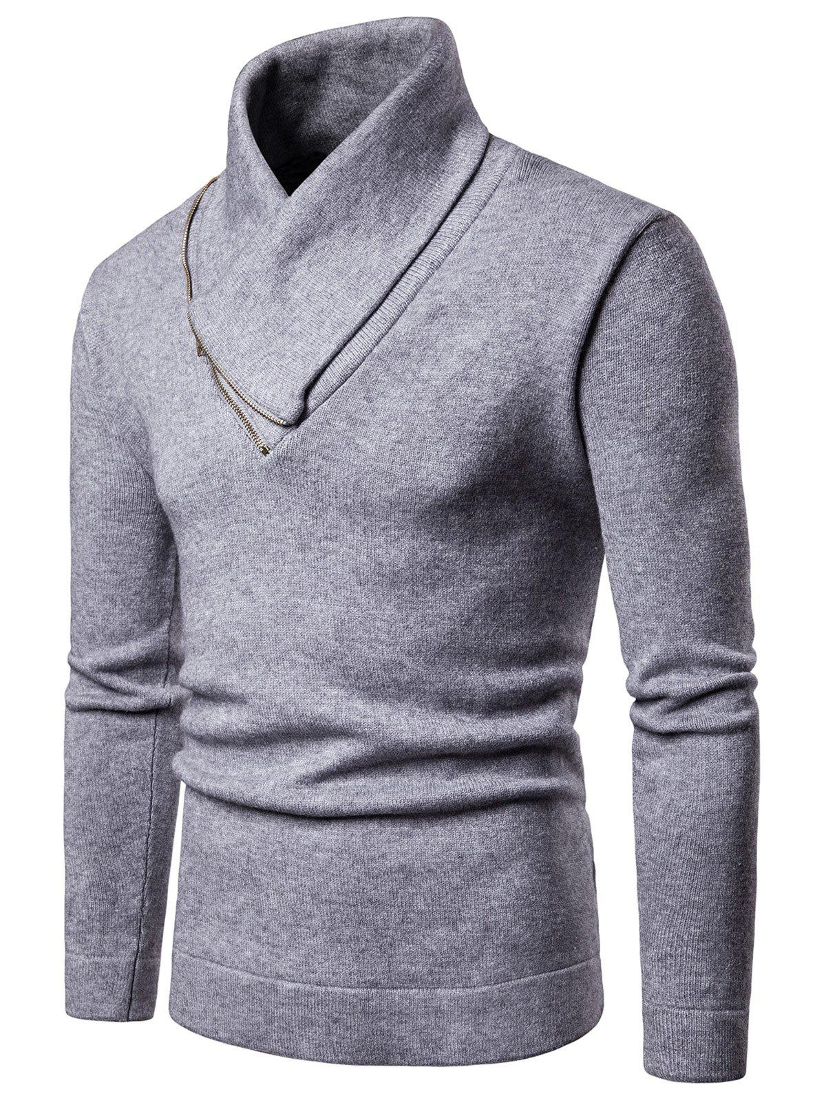 Chic Shawl Collar Solid Color Pullover Sweater