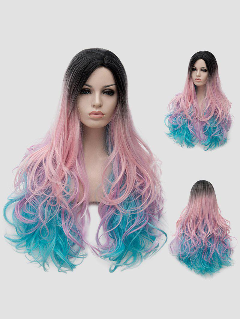 Discount Long Side Parting Colorful Wavy Party Rainbow Synthetic Wig