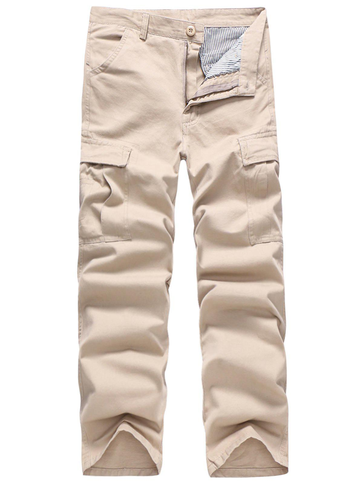 Affordable Solid Color Simple Pockets Cargo Pants