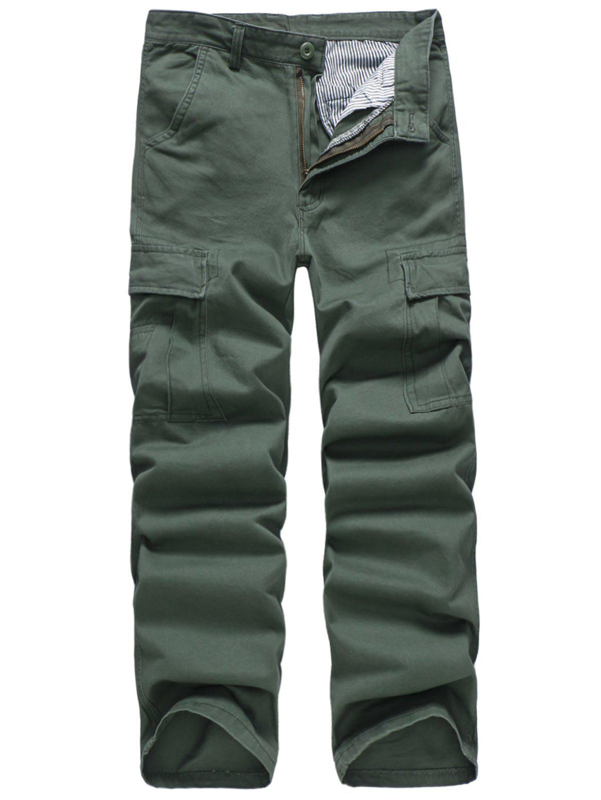 Online Solid Color Simple Pockets Cargo Pants