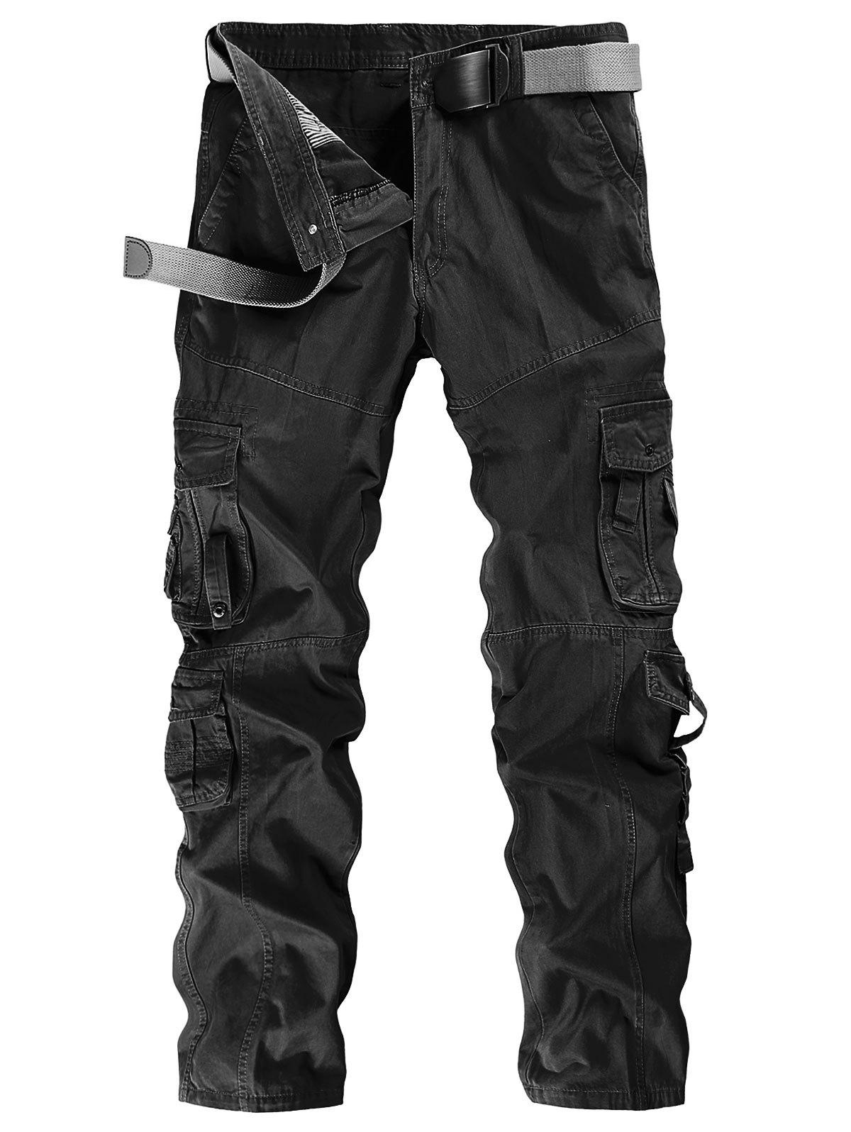Store Solid Color Zip Fly Cargo Pants