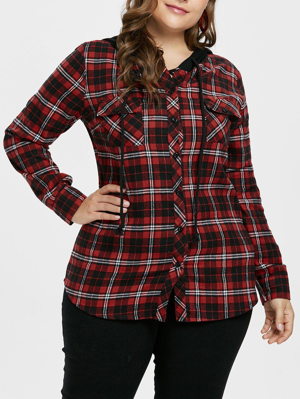 Discount Plus Size Plaid Hooded Shirt Jacket