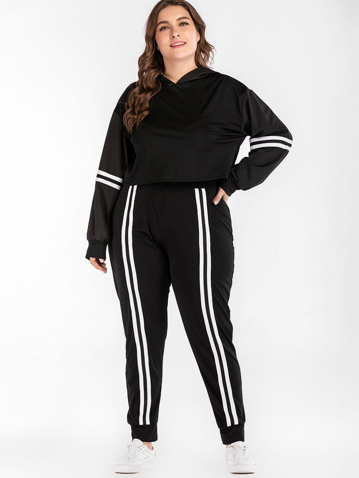 New Long Sleeve Hoodie and Striped Plus Size Pants