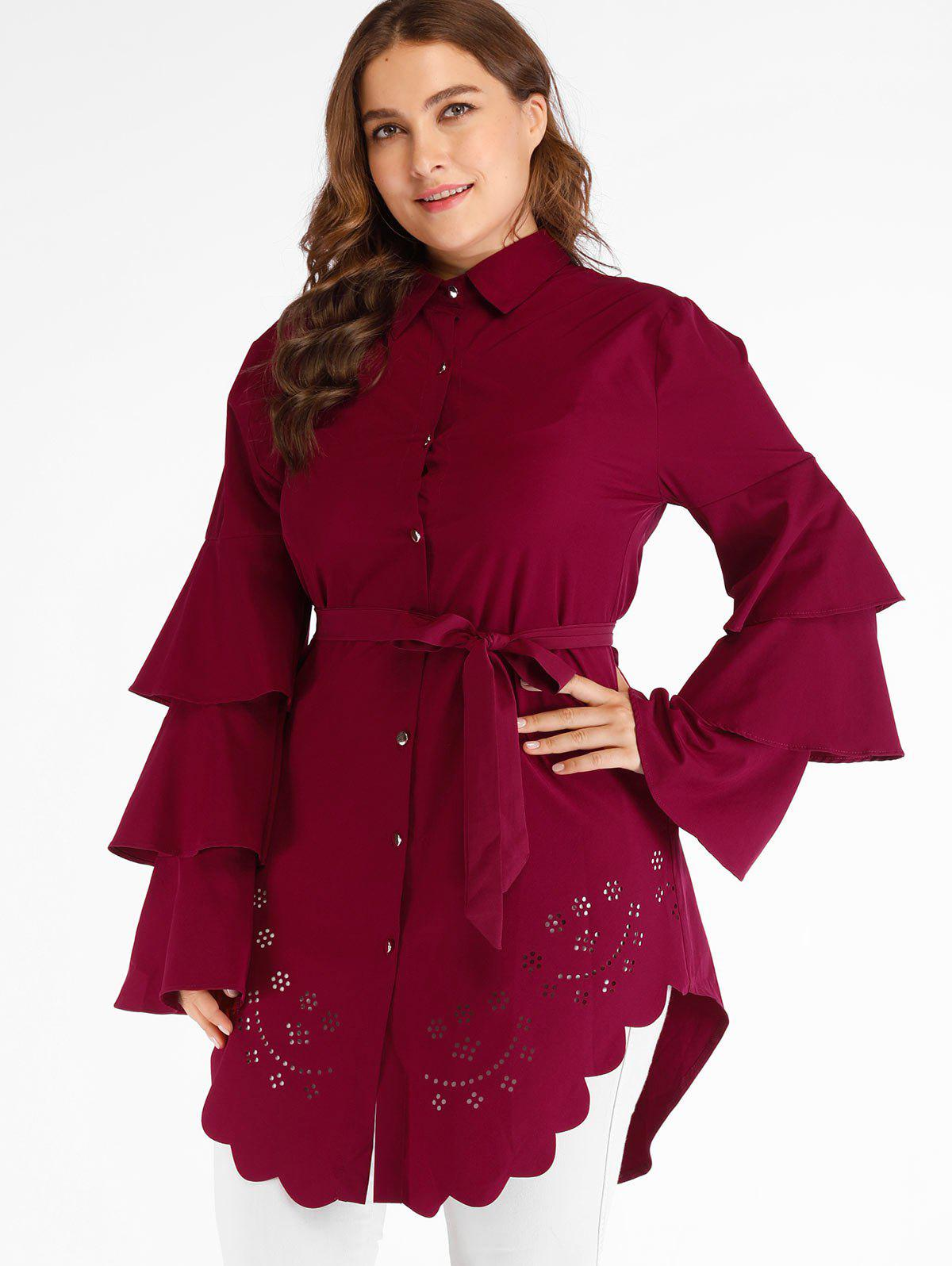 Trendy Plus Size Cutwork Tunic Blouse